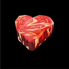 Meat or beef lover. beef as heart shape - vector