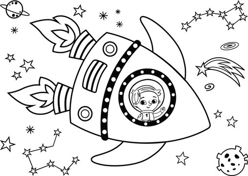 Black and white astronaut having journey in the space. Painting activity. Isolated on white. Vector illustration.