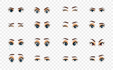 Cartoon female eyes. Colored vector closeup eyes. Female woman eyes and brows image collection set. Emotions eyes. Illustration