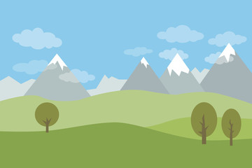 Vector flat landscape with green hills and trees and snowy mountains with clouds on blue sky.