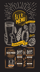 Menu for beer restaurant. Design template with hand-drawn graphic illustrations. Vector beverage flyer for bar.