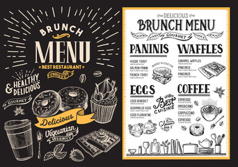 Brunch restaurant menu. Vector food flyer for bar and cafe. Template with vintage hand-drawn illustrations.