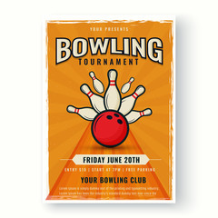 Retro style template or flyer design on white background for Bowling tournament concept.