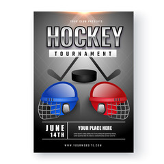 Shiny black Ice Hockey Tournament template on white background.