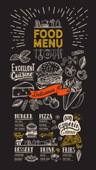 Food menu for restaurant. Flyer on blackboard background. Design template with vintage hand-drawn illustrations.