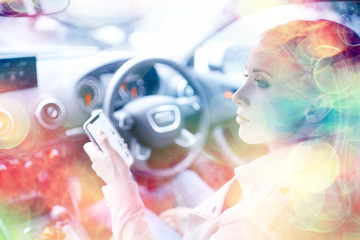 blonde girl driving / beautiful blonde driver, summer trip concept. Young adult girl driving a car
