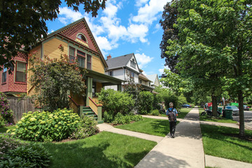 Photo sur Toile Chicago USA / Chicago - Wooden houses in Oak Park