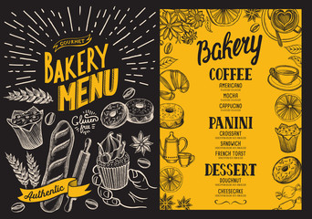 Bakery menu for restaurant. Design template with food and dessert hand-drawn graphic illustrations.