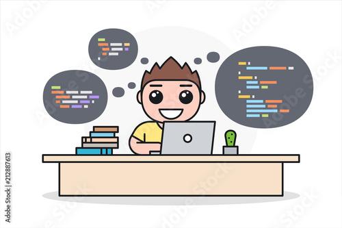 Programmer Software Or Web Developer Working On Computer At Office