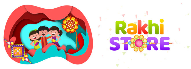 Paper cut origami style Rakhi Store header or banner design with happy brother and sister character for Raksha bandhan festival.
