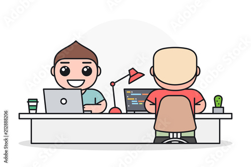 Two Programmers Web Developers Or Designers Working On Laptops At