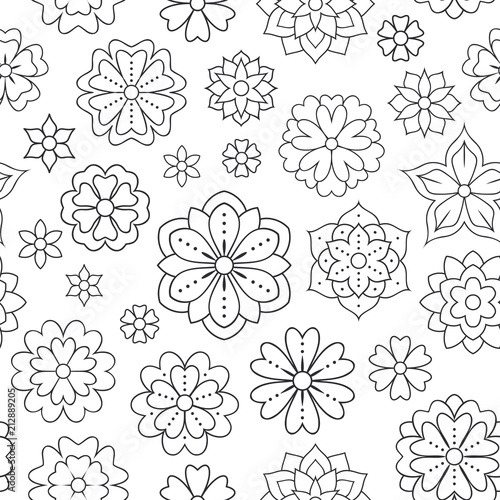 Seamless pattern with outline flowers for coloring book. Beautiful ...