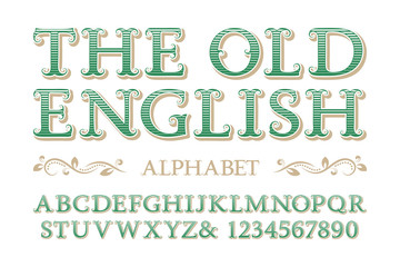 Old english alphabet with numbers in vintage style.