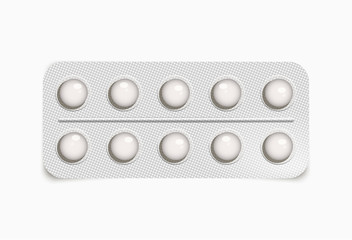 Vector realistic blister with white pills isolated on transparent background.
