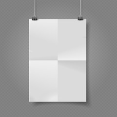 Vector white paper poster hanged on transparent background, ready to use.