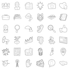 Businessman icons set. Outline style of 36 businessman vector icons for web isolated on white background