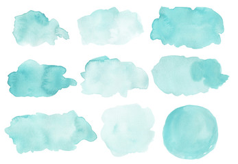 Watercolor abstract shapes isolated on white background.  Painted splashes, splatters, background blobs. Hand drawn painted design elements in pink. Fototapete