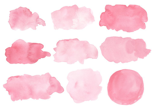 Watercolor splashes isolated on white background. Pink background blobs. Hand drawn painted design elements.