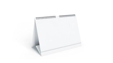 Blank white calendar mock up front view, isolated, 3d rendering. Empty desk calendar mockup with metal spirals. Clear table calender template. Landscape horizontal almanac