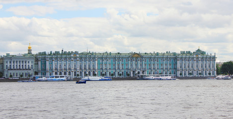 Winter Palace (Hermitage Museum) Facade Architecture View from Neva River. Former Official Residence of Russian Royal Family, Panoramic Building Exterior on Summer Day.