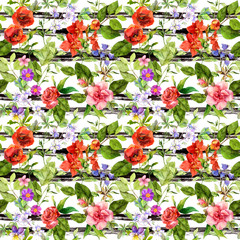 Summer flowers, meadow grass at monochrome striped background. Repeating floral pattern. Watercolor with black stripes
