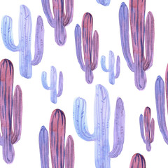 Seamless pattern with decorative purple cactus on a white background. Watercolor illustration