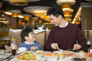 Father and son having dinner in restaurant