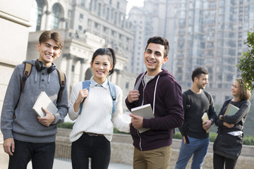 Cheerful abroad students on campus
