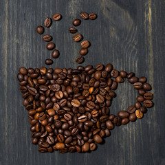 cup of coffee beans, concept photo