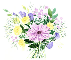 Flower bouqet hand painted watercolor illustration
