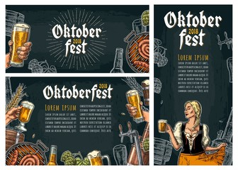 Three poster to oktoberfest festival. Vintage vector engraving illustration