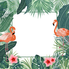 Tropical jungle vector background, frame with flamingo and palm tree