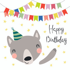 Hand drawn birthday card with cute funny wolf in a party hat, bunting, lettering quote Happy birthday. Isolated objects. Scandinavian style flat design. Vector illustration. Concept for kids print.