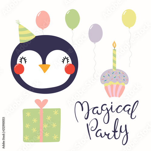 Hand Drawn Birthday Card With Cute Funny Penguin In A Party Hat Balloons Present Cupcake Quote Isolated Objects Scandinavian Style Flat Design
