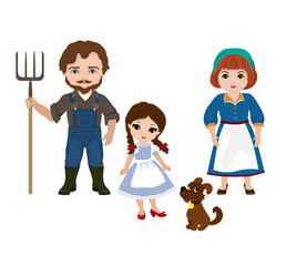 Illustration of Dorothy and her family. Uncle Henry, Auntie Em  together .