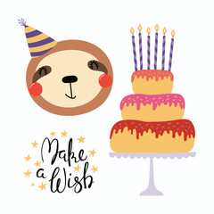 Canvas Prints Illustrations Hand drawn birthday card with cute funny sloth in a party hat, cake with candles, quote Make a wish. Isolated objects. Scandinavian style flat design. Vector illustration. Concept for kids print.