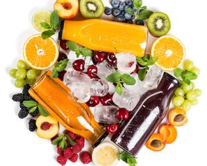 Fruits, berries and delicious array of fresh fruit juices