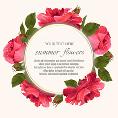 Template for greeting cards, wedding decorations, sales. Round Vector banner with Luxurious rose flowers. Spring or summer design.