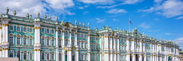 Panorama of the State Hermitage museum in St Petersburg, Russia