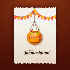 Creative greeting card design on brown background with illustration of golden pot and bunting flag for Janmashtami festival.