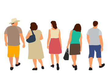 vector, isolated, silhouette people go, flat style