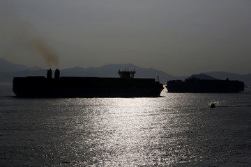 Container ships sail past each other in Hong Kong