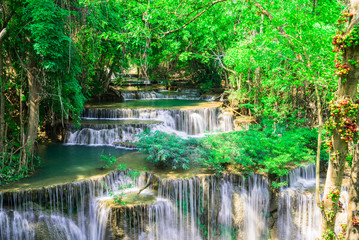 Wall Mural - Waterfall in the deep forest at Huay Mae Kamin waterfall National Park, Thailand