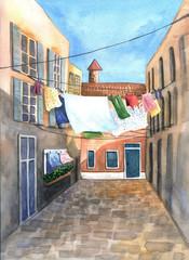 Sunny european street. Hand painted watercolor illustration.