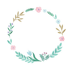 Flower wreath. Hand painted watercolor illustration.
