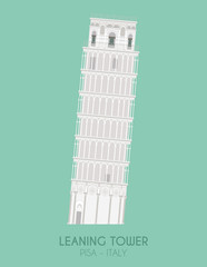 Modern design poster with colorful background of Leaning Tower (Pisa, Italy). Vector illustration
