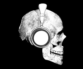 skull with headphones isolated in background