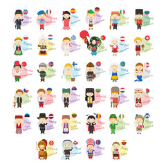 Vector illustration set of cartoon characters saying hello and welcom in 34 languages spoken in Europe