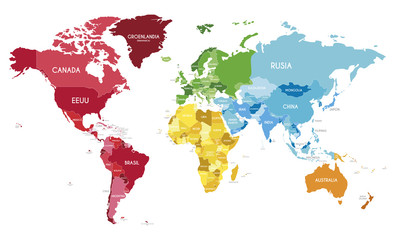 Spoed Foto op Canvas Wereldkaart Political World Map vector illustration with different colors for each continent and different tones for each country, and country names in spanish. Editable and clearly labeled layers.