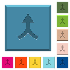 Merge arrows up engraved icons on edged square buttons